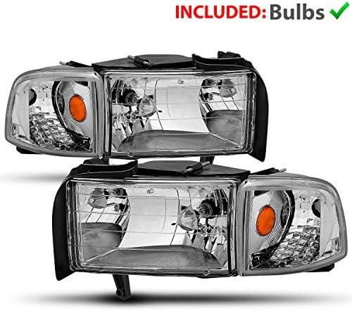 AmeriLite for 1994-2001 Dodge Ram 1500 / 1994-2002 Dodge Ram 2500 3500 Black OE Style Halogen Headlights Assembly Replacement w/Corner Lights Set - Passenger and Driver Side