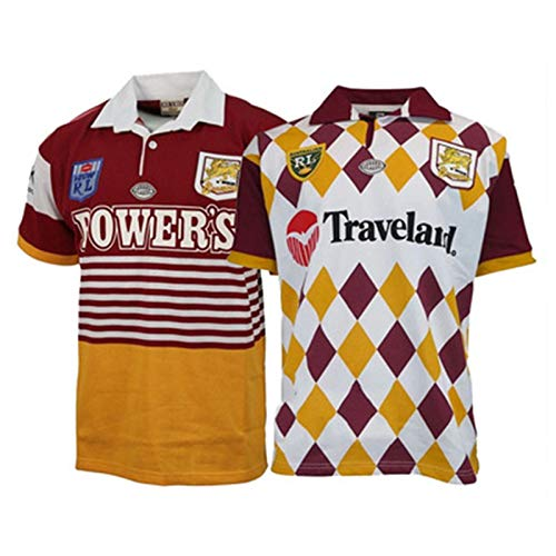 Rugby Trikot, 1992 Broncos Brisbane Retro Rugby-Fan-Hemd, Weltmeisterschaft Rugby T-Shirt, 1995 Retro Ausgabe Rugby Uniform, Fußball-Training Polo-Shirt S-3XL 1992-XXXL