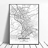 zhuifengshaonian Póster Mapa de España de Tarragona, Salamanca, Ibiza, Granada, Cádiz, Málaga (ZW-1792) Sin Marco Poster 40x60cm