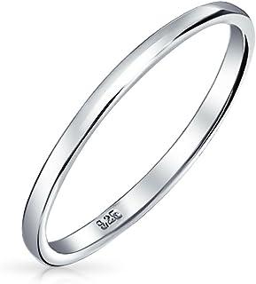 Semplice minimalista sottile impilabile 925 sterling argento coppie fede nuziale anello per uomo per donna 2MM