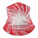Hancal Weiße Schneeflocken Wirbel Roter Hintergrund Kopfbedeckung Halsmanschette Wärmer Winter Skiröhrchen Schal Maske Fleece Gesichtsschutz Winddicht