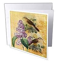 PSヴィンテージ–ライラック花と鳥ヴィンテージ–グリーティングカード Set of 6 Greeting Cards