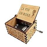 MOPOIN Spieluhr Holz, Handkurbel Spieluhr Rose Spieluhr Muttertag für Heimtextilien Kunsthandwerk Spielzeug, Holzfarbe