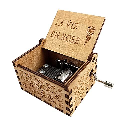 MOPOIN Caja de música de madera, manivela, caja de música con rosas, para el Día de la Madre para textiles del hogar, artesanía, juguetes, color madera