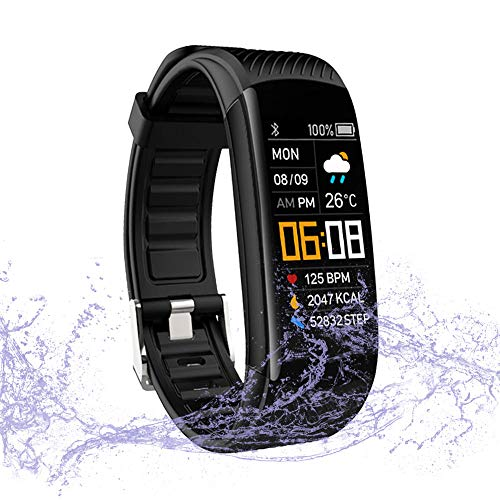 WalkerFit Fitness Tracker, Activity Tracker Pedometer Watch with Heart Rate Monitor, IP67 Waterproof, Black (0.96in Color Screen)