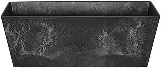 comprar comparacion Artstone Maceta para Flores Balconera Ella, Resistente a Las heladas y Ligera, Negro, 55x17x17cm