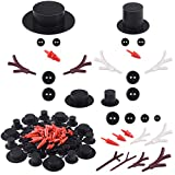 KUUQA 344 Pcs Snowman Crafts DIY Kit, Includes Mini Black Top Hats Carrot Noses Tiny Black Buttons and Mini Buckhorn for Christmas Crafting Sewing Christmas Party Supplies