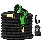 Kugoplay 100 ft Garden Hose 9 Patterns - Pressure Expanding Hose with Leakproof Solid Brass Fittings, Flexible Stretch Water Hose with Double Latex Core Extra Strength Fabric