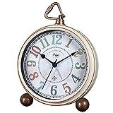 xihaiying 5.5 inch Vintage Retro Decorative Desk Alarm Clocks,Non-Ticking Easy to Read Large Display Mantel Clock (White)