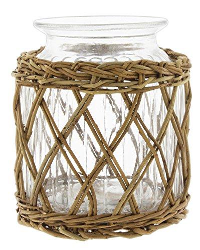 Lucky Winner Decorative Glass Jar in Wicker Basket, 7.5'
