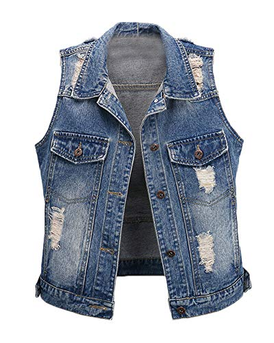 DianShaoA Donna Gilet in Jeans Strappati Sciolto con Bottone Senza Maniche Strappato Giacca Corta Blu Marino L