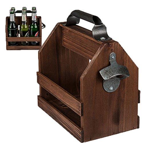 Bada Bing Flaschenhalter Holz Getränke Halter Mit Flaschenöffner Für sechs 0,33l Bier Flaschen Männer Geschenk Edel 68