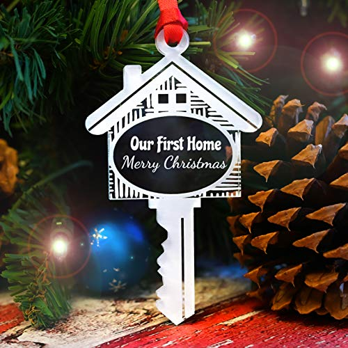 LHS Engraving First Christmas in New Home Ornament 2020 1st House Crystal Clear Frosted White Shatterproof Acrylic Key | Unique Limited Edition Keepsake Non Personalized | Made in USA