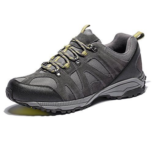 KENSBUY Mens Waterproof Hiking Shoes Outdoor Lightweight Walking Sneaker(Yellow EU42)