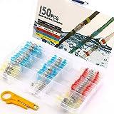 IWILCS Conectores Termocontraibles Terminales de Cable Impermeable, 150pcs Juego conectores cable conector termorretráctil con 4 tamaños, Impermeable conectores termocontraibles eléctrica, con tijeras