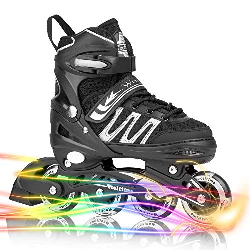 Woolitime Sports Adjustable Blades Roller Skates for Boys and Kids with Featuring All Illuminating Wheels, Safe and Durable Inline Skates, Fashionable Roller Skates for Women, Youth and Adults