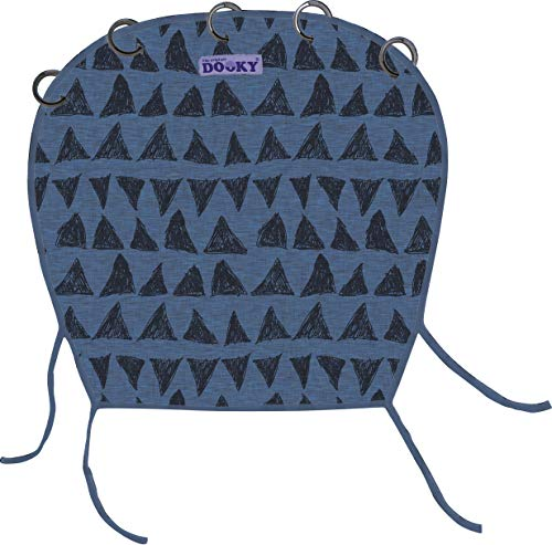 Original Dooky Universal Cover Dark Blue Tribal Sonnenschutz, Wetterschutz, TÜV getestet, universale Passform mit Klettband für Babyschale, Kinderwagen und Buggy, blau