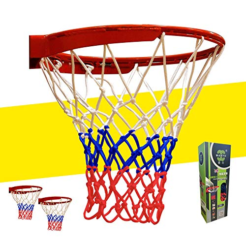 FrSara Basketball Net, Basketball Nets Heavy Duty Outdoor The Best Professional Game Net, High-Strength Material, Special Process Reinforcement, Indoor and Outdoor Use, Tricolor, 12Loops 2Pcs