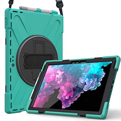 ProCase for Microsoft Surface Pro 7 / Pro 6 /Pro 2017(5th Gen)/ Pro 4 / Pro LTE Case with Hand Strap, Heavy-duty Shockproof Hybrid Rugged Case Cover, with 360 Degree Rotation Kickstand –Teal