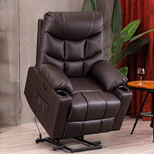 B BAIJIAWEI Power Lift Recliner Chair, PU Leather Electric Recliner with Vibration Massage & Heat Function, Heavy Duty Recliner with Remote Control, 3 Positions, USB Port