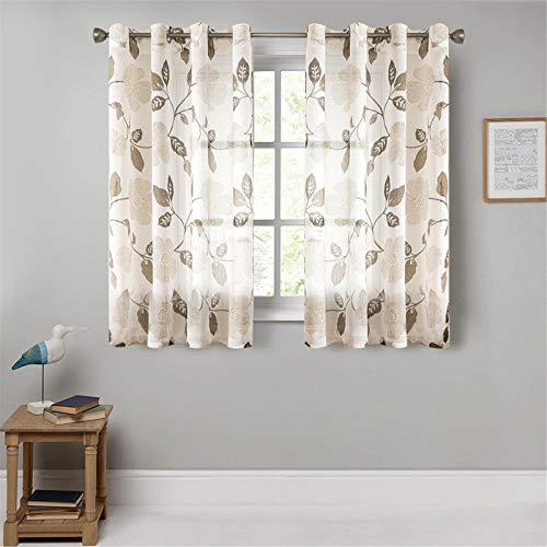 MRTREES Voile Gardinen Vorhang halbtransparent 3D Blumen Stickerei Vorhänge Muster mit Ösen Leinenoptik für Wohnzimmer Schlafzimmer Kinderzimmer Braun 160×140 (H×B) 2er -Set