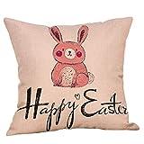 Yivise Clásico Semana Santa Almohada Para Decorativas Fundas de Cojines Cojín de Suave Para Coche Sofá Conejito Huevos de Pascua Pillow Cushion(A)