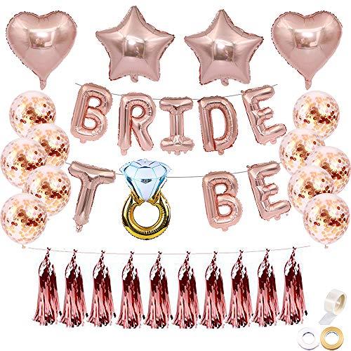 "Juland JGA Deko Ballons Rosegold 16 Zoll Bride to BE Folienballons Luftballons Brautdusche Bachelorette Party Dekoration Diamant Ring 12"" Luftballons Geburtstag Party Hochzeit Bachel mit Quaste Sein"