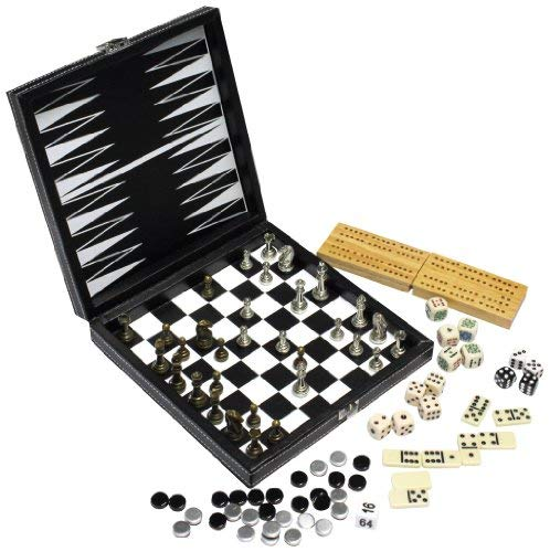 Modiano Scatola Multigioco 8 in 1 in Similpelle - Scacchi, Dama, Backgammon, Domino, Poker, Cribbage, Dadi puntati, Dadi Poker