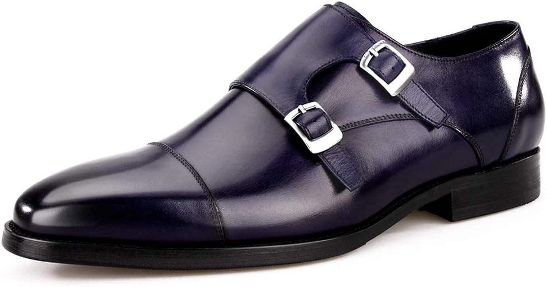 Herren Lederschuhe Business Style Herren Doppel Mnch Strap Leder Kleid Schuhe, wies Loafer Bequeme Klassische Abendgarderobe Hochzeitsschuh Herrenschuhe (Farbe   Blau, gre   EU39 UK6)