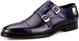 HWF Scarpe Uomo in Pelle Scarpe da Uomo Stile Business con Doppio Cinturino in Pelle con Fibbia, Mocassino a Punta Comoda ...