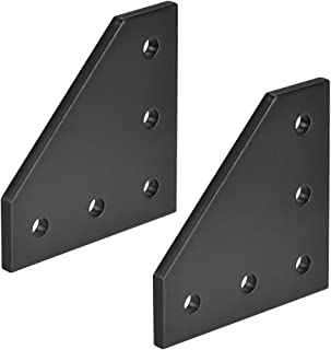 uxcell L Shape Outside Joining Plate, 60mm x 60mm x 4mm with 5-Hole Joint Bracket for 2020 Aluminum Profile, 2 Pcs (Black)