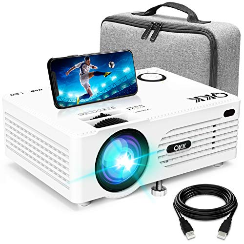 Proyector QKK 5000 Lumen Soporta 1080P Full HD, Proyector HD Nativo 720P con Bolsa de Transporte, Proyector Video Compatible con los TV Stick PS4 HDMI SD AV USB, Proyector Teatro en Casa, Blanco.