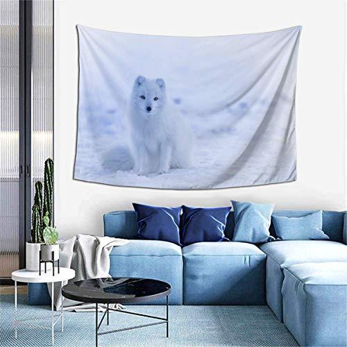 N\A Tapiz para Colgar en la Pared, Islandia Zorro ártico Animal Lindo Paisaje de Nieve tapices para Dormitorio Sala de Estar Dormitorio, Manta de Pared Toallas de Playa decoración del hogar