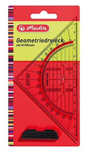 Herlitz Geometrie-Dreieck klein mit Griff, 1 Stück in Klarsichtpackung