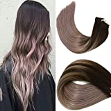 HUAYI Brown To Milky Lavender/Pink Mauve Ombre 50g 18inch 20Pcs Tape In Hair Extensions Human Hair Soft Thick End Tangle Free Durable Silky Straight Balayage Hair Extensions (2TG#18)