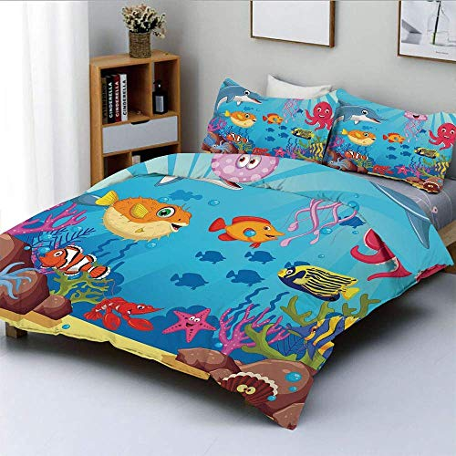 Qoqon Bettbezug-Set, Happy Animals Zeichentrickfiguren Mollusc Rocks Sun Rays Comic ArtworkDecorative 3-teiliges Bettwäscheset mit 2 Kissen Sham, Sky Blue Hot Pink Yellow, Ki