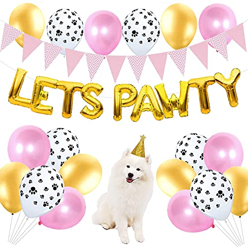SKSNB Balloon Dog Cat Birthday Party Decorations,Lets Pawty Balloons Banner,Paw Print Balloons and Dog Cat Birthday Hat for Girl Dog Cat Birthday Party Favors Supplies