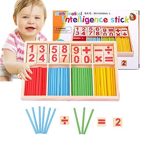 Bloques y Palos de Conteo de Madera - Palos Matemáticos de Conteo de Números Educativos, Varillas de Números de Juegos de Conteo para Niños, Palo de Inteligencia de Conteo de Números de Madera