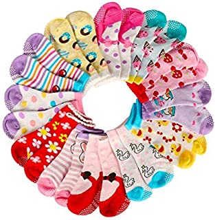 Assorted Non Skid Ankle Cotton Socks Baby Walker Toddler Anti Slip Crew Socks with Grip for 12-36 Month Baby