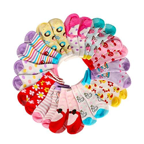 Assorted Non Skid Ankle Cotton Socks Baby Walker Toddler Anti Slip Crew Socks with Grip for Baby Boys Girls