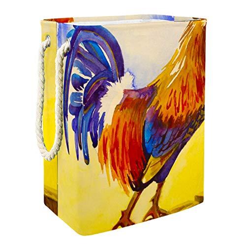 Anmarco Großer Wäschekorb mit Hahn, zum Aufstellen auf Holzzaun, zusammenklappbar, für Schlafzimmer, Badezimmer, 60 l