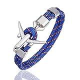Generic Bracelet en Cuir,Vintage Hommes Bleu Argent Bracelet en Cuir Bracelet d'avion Ciel Liberté Corde De Survie Boucle Charme Bracelets Cadeau De Noël pour Hommes Femmes