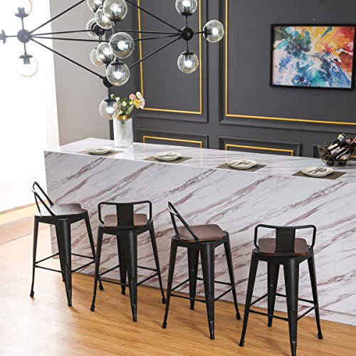 24 Inch Swivel Metal Barstools Kitchen Counter Bar Stools Set of 4 ¡ (24 inch, Swivel Low Back Black Wooden)