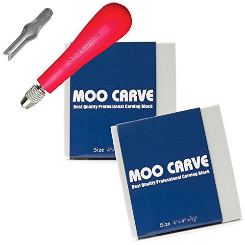 """Moo Carving Printing Studio Pack of Easy to Cut Soft Blocks with Speedball Linoleum Cutting Tool & Blade Artist Printmaking art and tool set 2 Pack 4x4x1/2"""""""