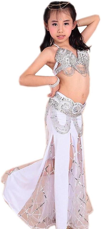 Wgwioo Professionelle Performance Girl Bauchtanz Rock Diamant Quaste Sequins Indien Handgefertigte Tüll Stickerei MultiFarbe Kinder Party Modern Clothes Kostüm