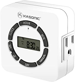 Kasonic Digital Timer Outlet, 7 Days Heavy Duty Programmable Light Timer; Indoor Use; ETL Listed with 2 AC Plug Capacity for Electrical Outlets, Lights, Lamps (White)