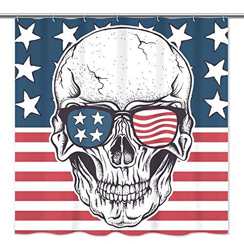 Tititex Duschvorhang, Totenkopf und USA-Flagge, Polyester, wasserdicht, Badewannen-Duschvorhang für Badezimmer mit 12 Haken, 175,9 x 177,8 cm