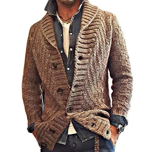 ZSYDS Botón de la Moda Cable de Punto Chaqueta de Punto Grueso del Collar del Soporte de los Hombres suéter (Color : Brown, Size : XXL)
