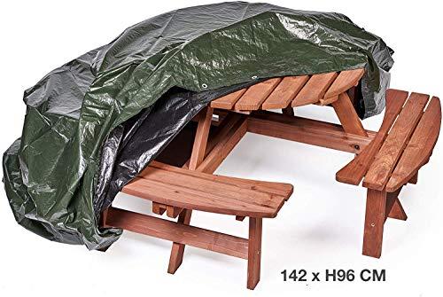 Ronde afdekking voor tuinmeubelset, 142 x H 96 cm, waterdicht, winddicht, anti-uv, taai en scheurvast, licht en sterk, dekzeil bescherming voor outdoor, balkonmeubelen, rotan, houten tafels stoelen en banken.