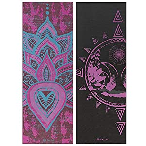 Gaiam Yoga Mat Premium Print Reversible Extra Thick Non Slip Exercise & Fitness Mat for All Types of Yoga, Pilates & Floor Workouts, Be Free, 6mm